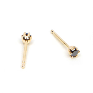 Six Prong Black Diamond Studs