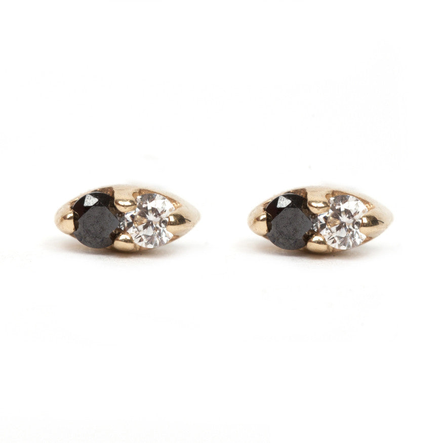Black and White Seed Stud Earrings