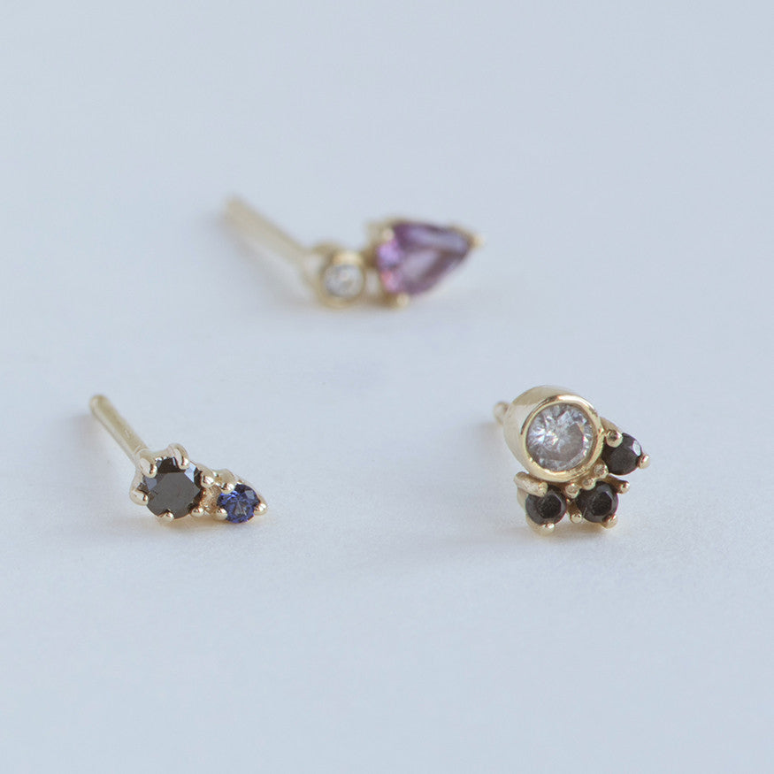 Black Diamond and Sapphire Duo Stud Earrings