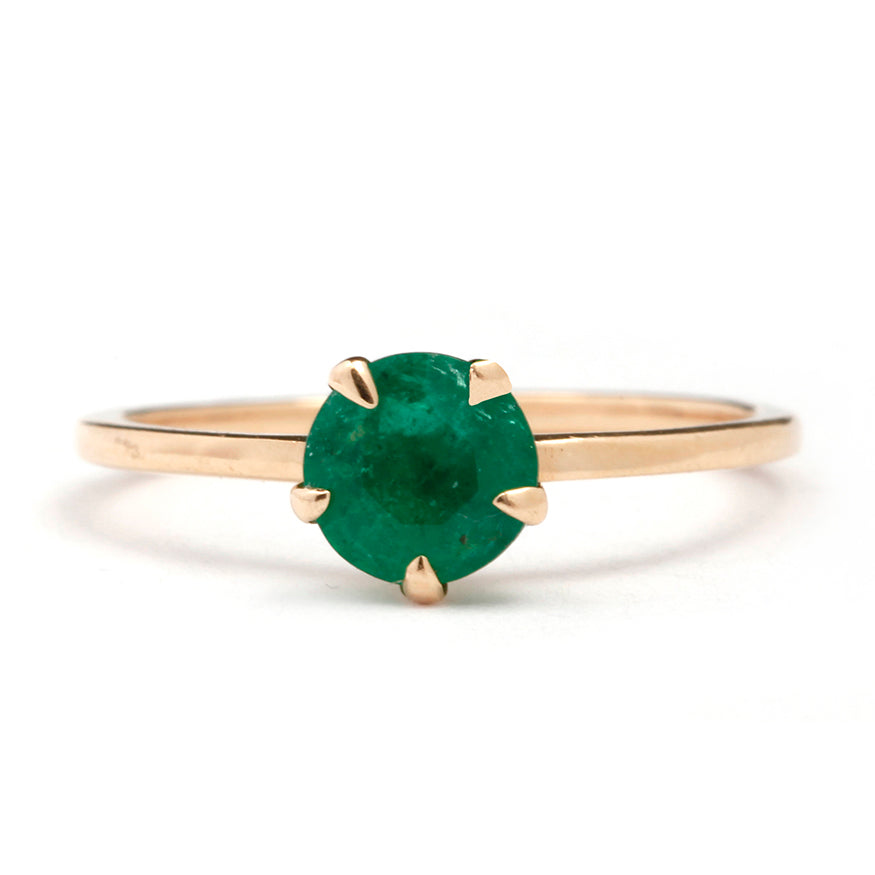 Five Prong Emerald Ring