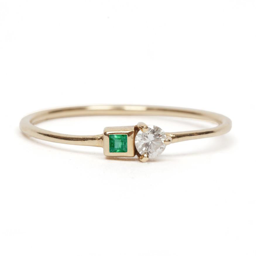 Gemstone and White Diamond Ring