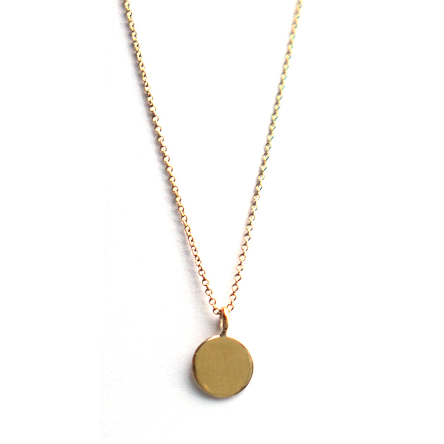 Simple Gold Disc Charm Necklace