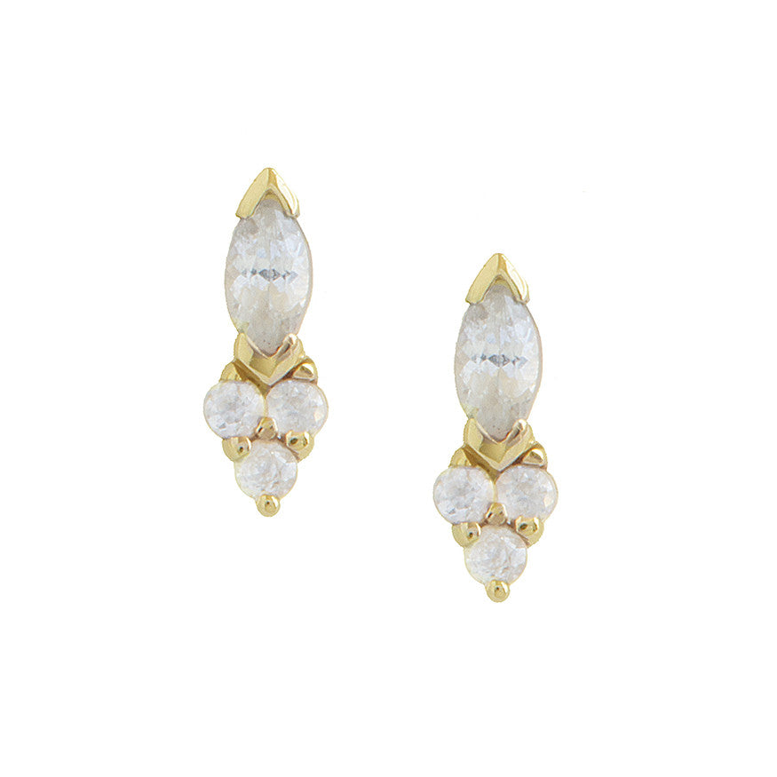 Marquise White Sapphire Studs