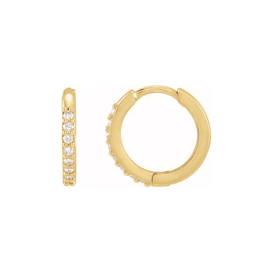Mini Gold Hoop With Pave Diamond