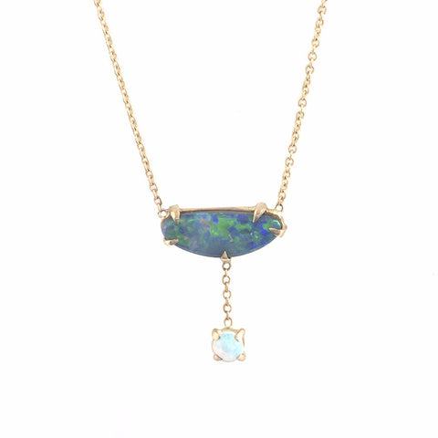 Double Opal Drop Necklace