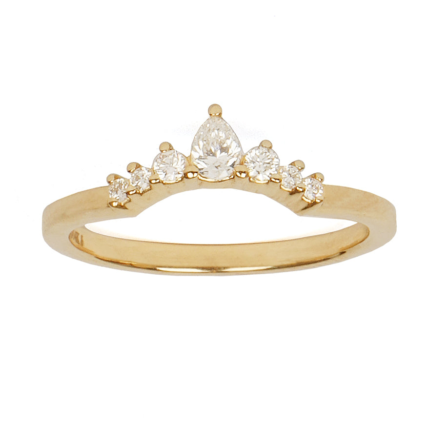 Pear Diamond Arched Ring Topper
