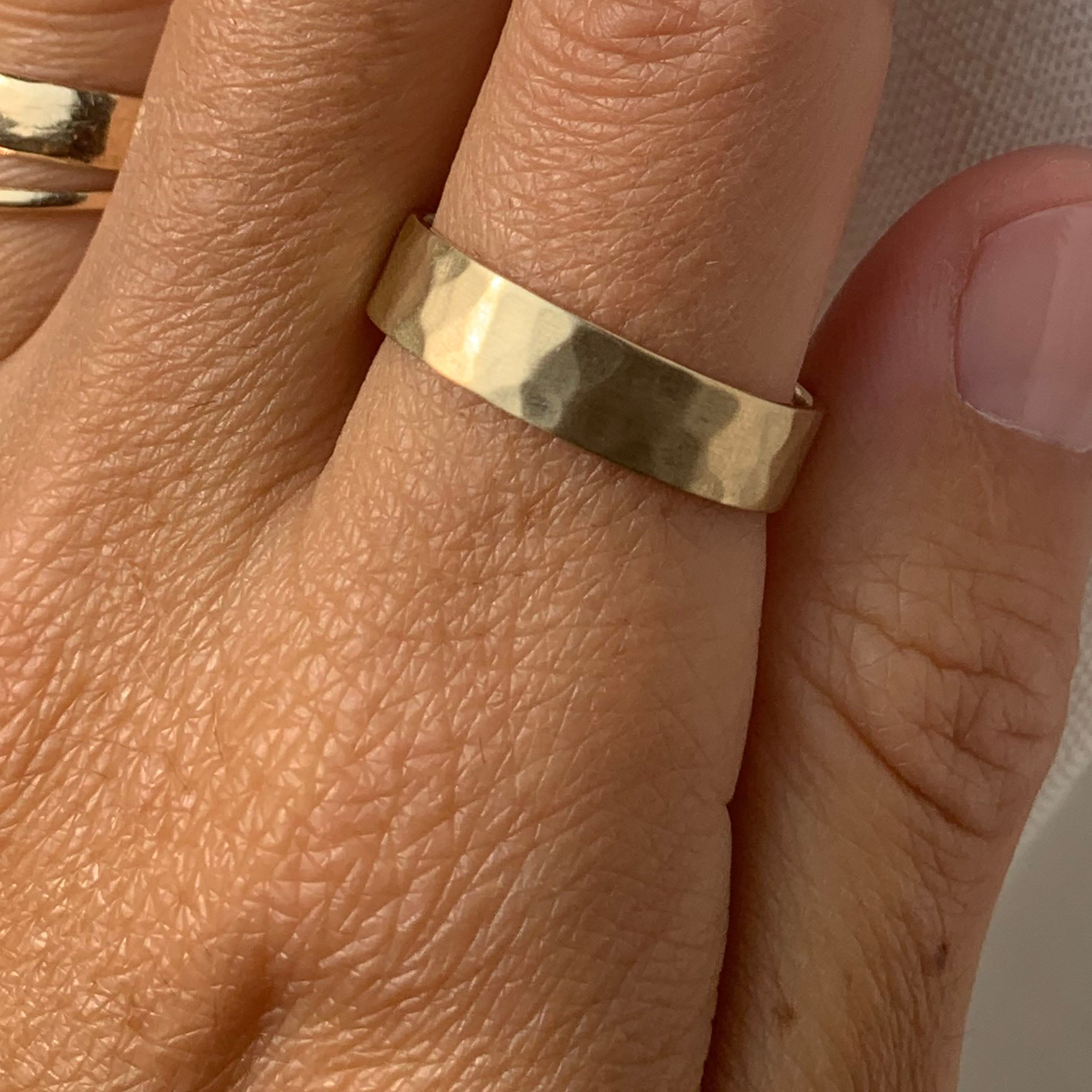Gold 5mm Hammered Band