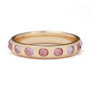 Rose Cut Pink Sapphire Band