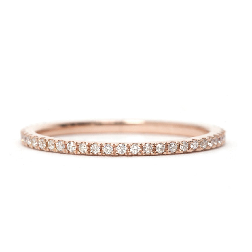 Rose Gold Diamond Eternity Band 1mm