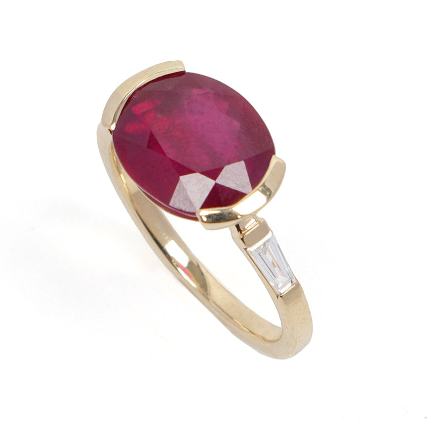 East West Oval Ruby Ring