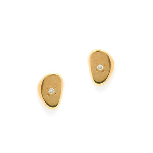 Shiny Pebble Stud Earrings