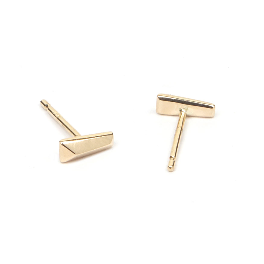 Gold Tapered Baguette Stud Earrings