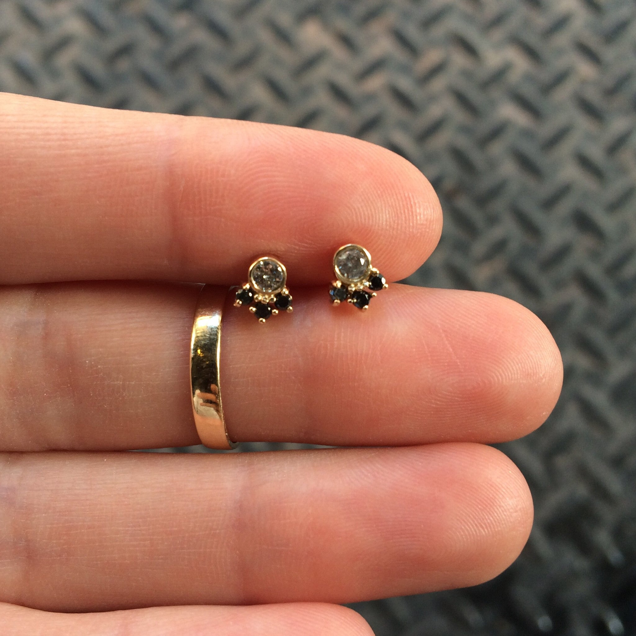 Round Diamond Trio Studs