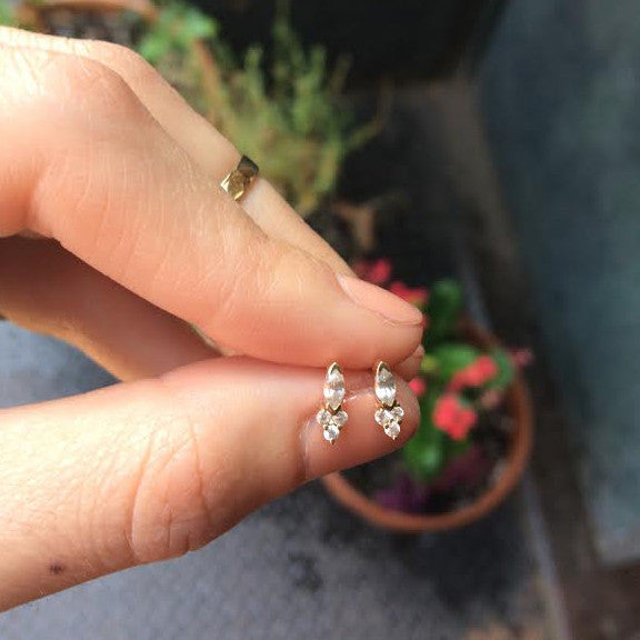 Marquise White Sapphire Stud Earrings