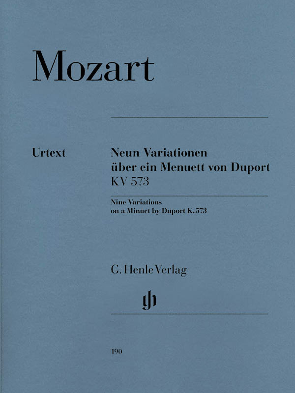 Mozart: 9 Variations on a Minuet by Duport, K. 573