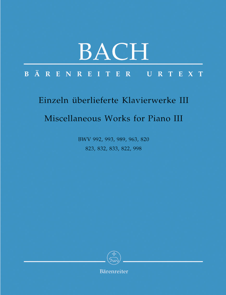 Bach: Miscellaneous Works for Piano - Volume 3
