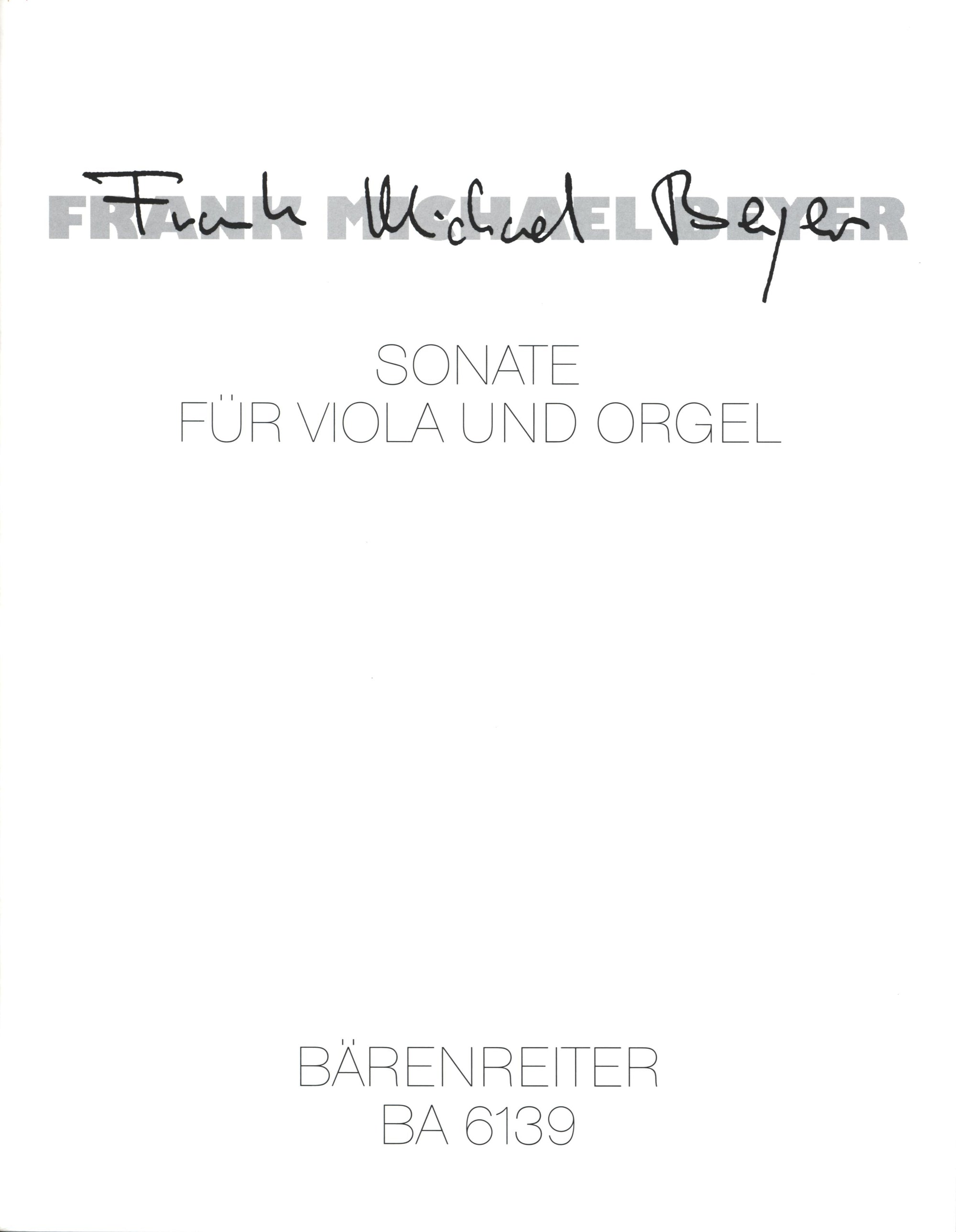 Beyer: Sonata for Viola and Organ