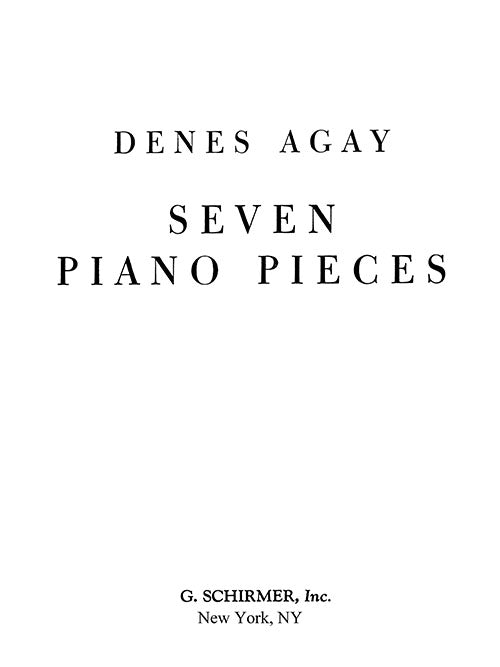 Agay: 7 Piano Pieces