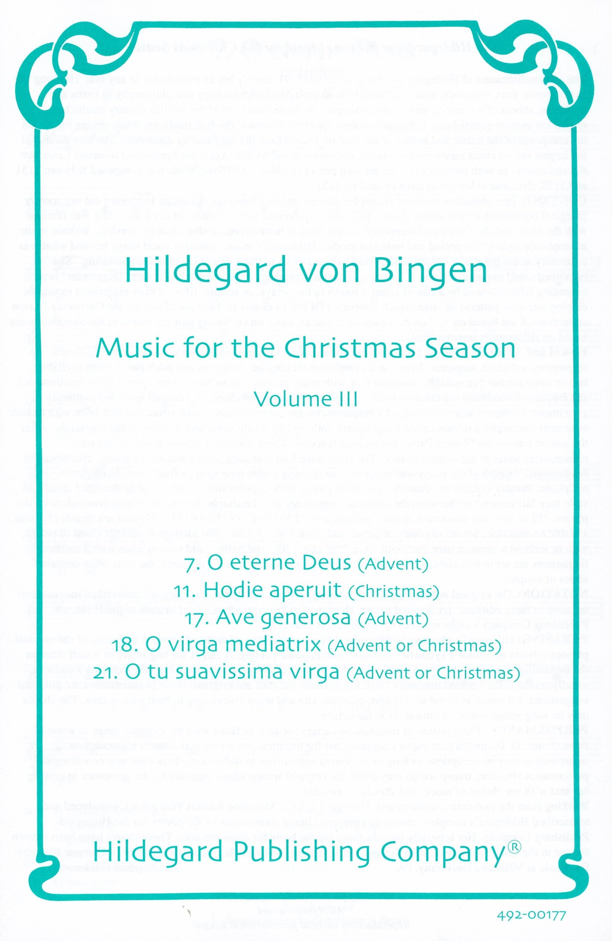 Bingen: Music for The Christmas Season - Volume 3