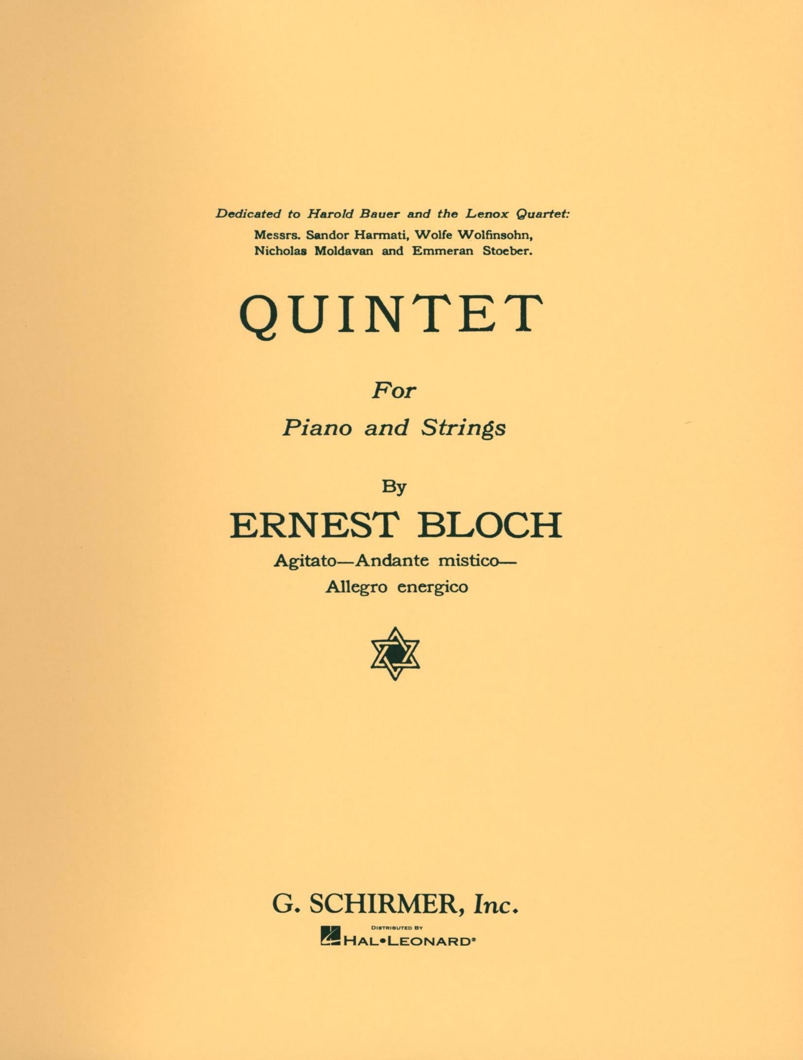 Bloch: Piano Quintet