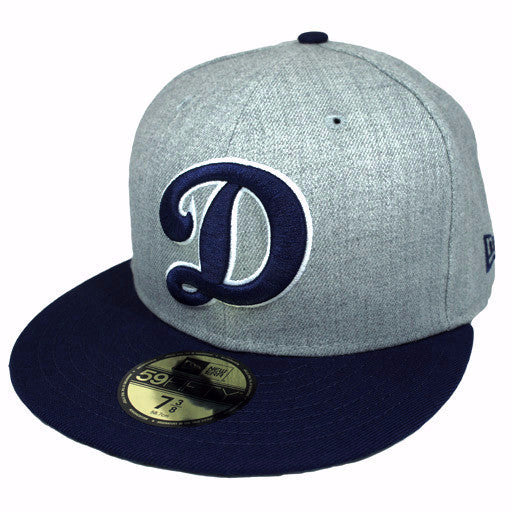 "OKC Dodgers ""D-Logo"" Fitted Hat - Grey + Blue - Los Angeles Source  - 1"
