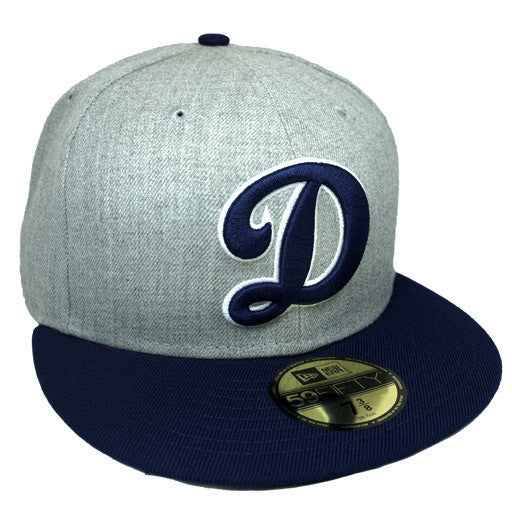 "OKC Dodgers ""D-Logo"" Fitted Hat - Grey + Blue - Los Angeles Source  - 3"