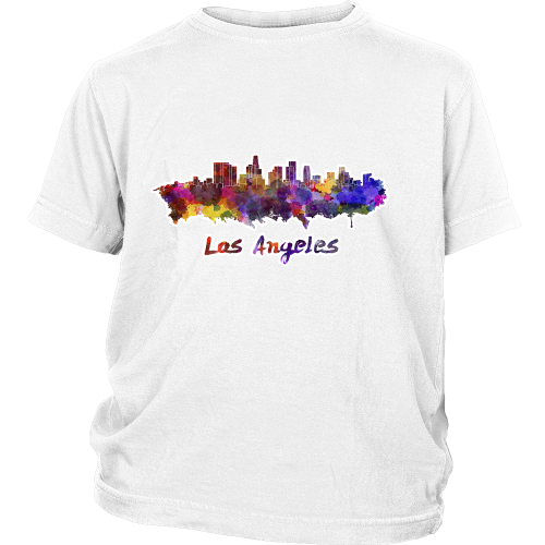 "LA Skyline ""Water Color"" Youth Shirt - Los Angeles Source  - 2"