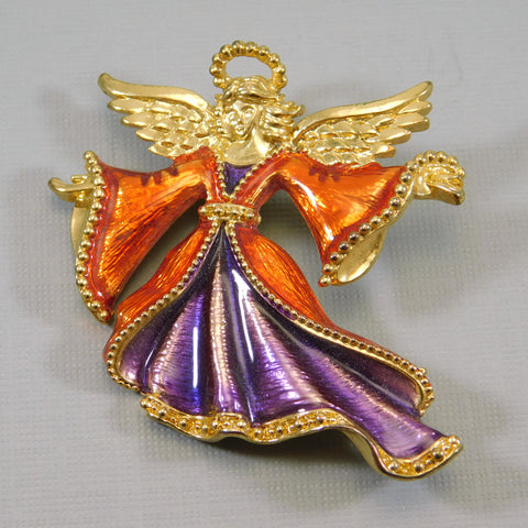 Christopher Radko Angel Brooch Colorful Holiday Jewelry