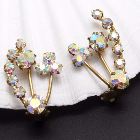Rhinestone Vintage Earrings Clip On Climbers Austrian Jewelry
