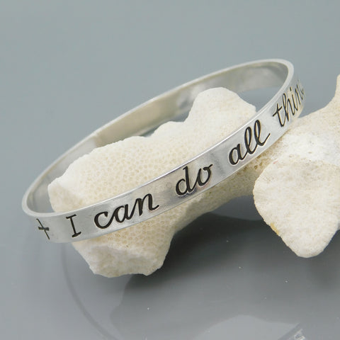 James Avery Sterling Bangle - I Can Do All Things Bracelet - Avery Sterling Jewelry