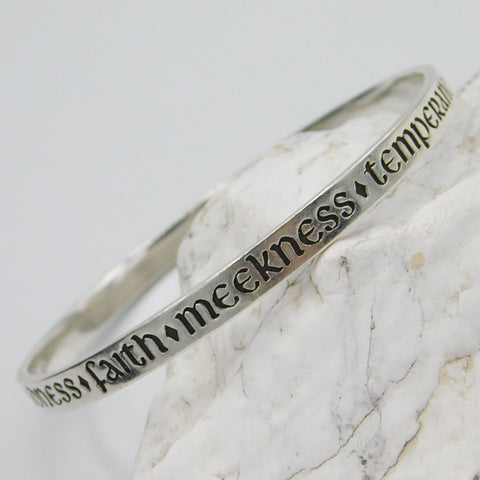 James Avery Sterling Bangle - Fruits of the Spirit Bracelet - Retired Avery Jewelry