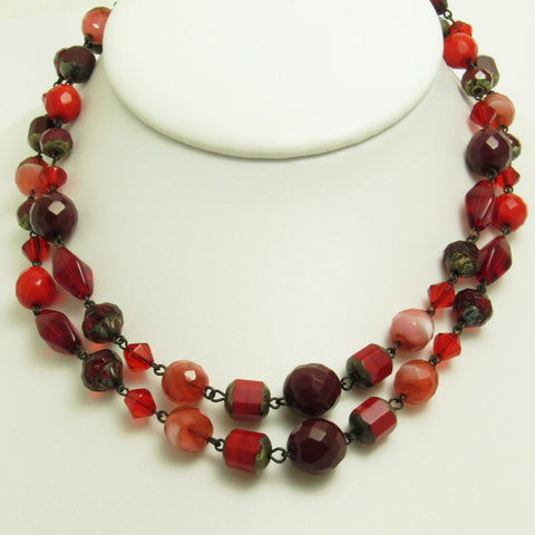 Red Glass Bead Necklace Earrings Set Multi Strand Jewelry