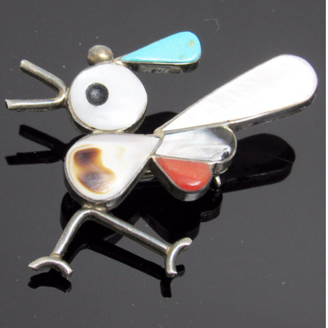 Sterling Roadrunner Brooch Inlaid Stone Zuni Signed Jewelry