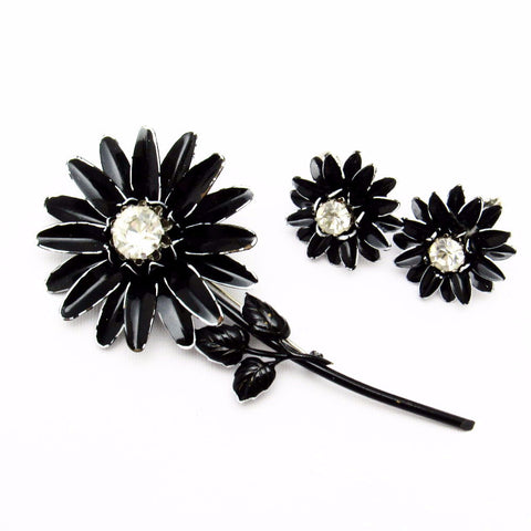Vintage Flower Brooch Earrings Set Francois Rhinestone Jewelry