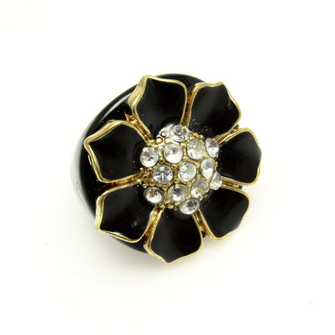 Black Lucite Flower Rhinestone Ring Big Bold Jewelry
