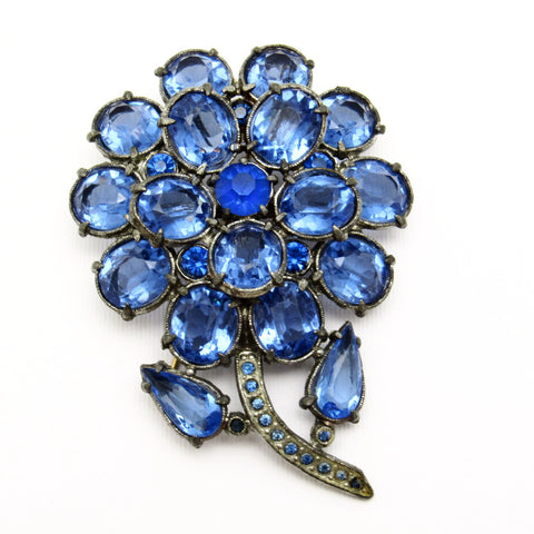 Large Rhinestone Flower Brooch Thirties Pot Metal Jewelry