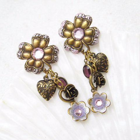 Long heart flower earrings