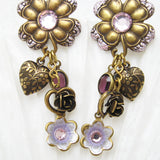 Long heart flower earrings 2