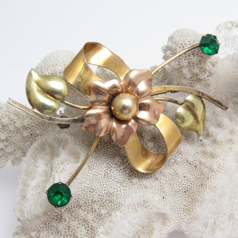 Bow and Heart Gold Filled Brooch Forties Bal-For Jewelry