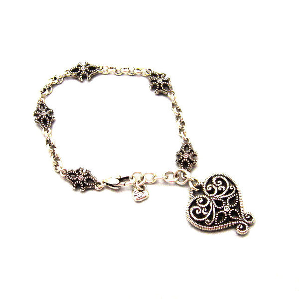 Brighton Bracelet Large Heart Charm Purple Daisy Jewelry