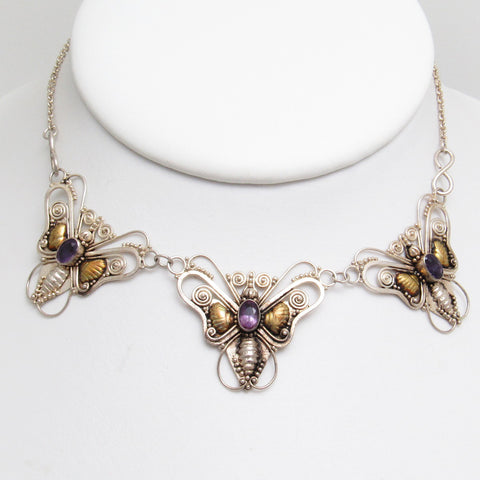 Sterling Butterfly Bib Necklace Amethyst Vintage Jewelry