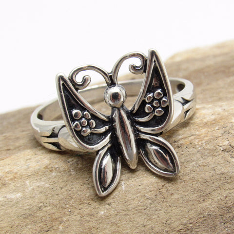 Sterling Butterfly Ring Summer Tulip Jewelry