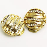 Small Rhinestone Button Earrings Vintage Jewelry