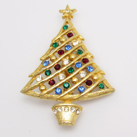 Large Rhinestone Christmas Tree Brooch