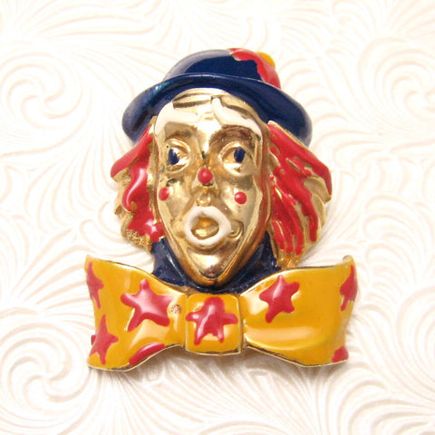 Clown Brooch Large Colorful Circus Jewelry