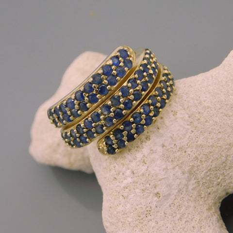 Coiled Sapphire Blue Stone Sterling Ring