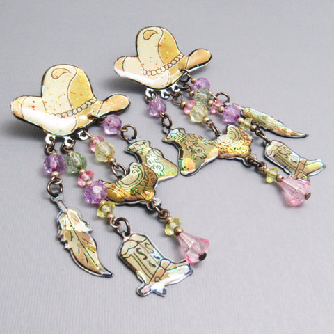 Long Cowboy Hat Earrings Charm Jewelry