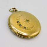 Antique Locket, Crescent Moon Paste, Gold Filled Antique Jewelry