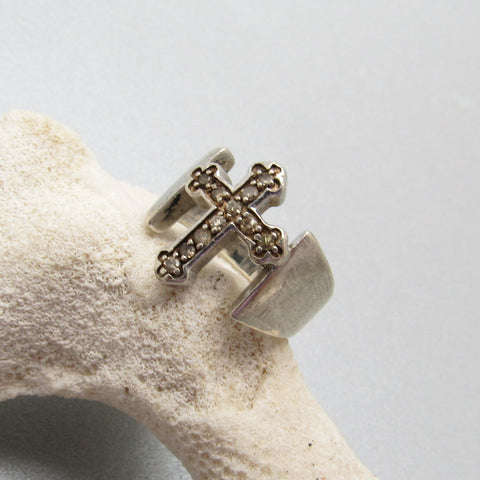 Sterling CZ Cross Ring