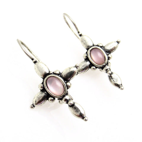 Sterling Cross Earrings Pink Shell Premier Designs
